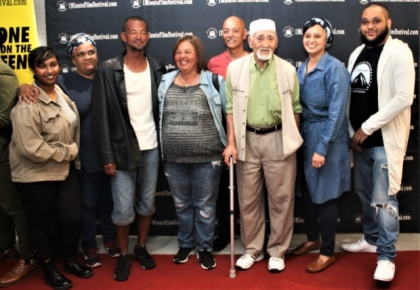 Angelo C Louw (far right) with the cast of Gutted.